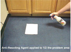 ARA Anti-Resoiling Agent Applied to 1/2 of the Problem Area.