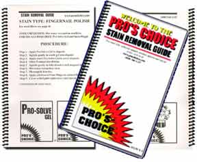 Pro's Choice Over 50-Page Stain Removal Guide Covers the removal of nearly all types of carpet stains and spots
