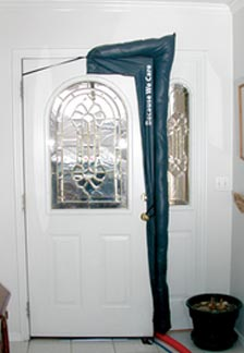 Image of a door drape keeping out bugs and cold weather