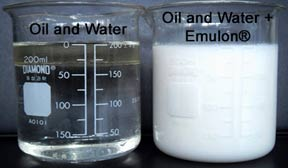 Effect off Emulon emulsifier on oil mixed with water