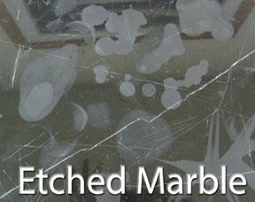 Marble etched by acids