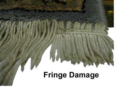 Damaged rug fringe