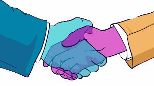 Handshake of owner to employee