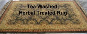 Herbal treated, tea washed rug