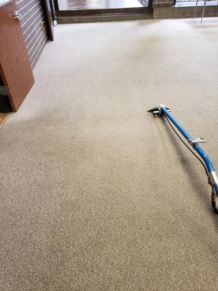 Image of School Carpet Partly Cleaned