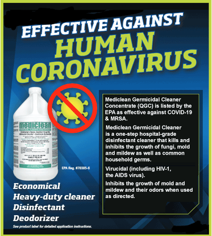 Germicidal Cleaner Concentrate QGC against Coronavirus