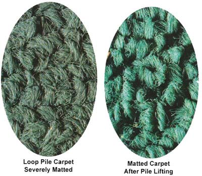 Matted Carpet Recovered by Pile Lifter