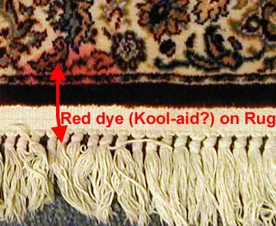 Red Kool-Aid stain on rug