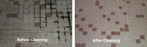 Left Side-Extremely dirty and greasy ceramic tile and grout BEFORE cleaning