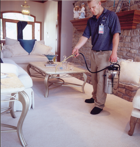 Applying Bane-Guard Carpet Protector to Carpet with Pump-Up Sprayer