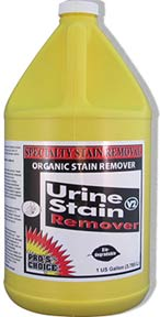Urine Stain Remover is formulated to remove pet urine stains from carpet and upholstery.