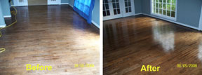 Wood floor before and after being restored with wood-solv finish