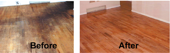 Wood Floor Before and After Restoring with Wood-Solv Finish - Bane-Clene Customers Wood Floor Repair Before, After Pictures